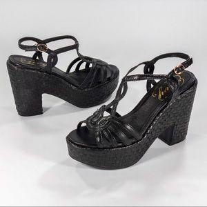 ENVY BLACK LEATHER Platform Sandals